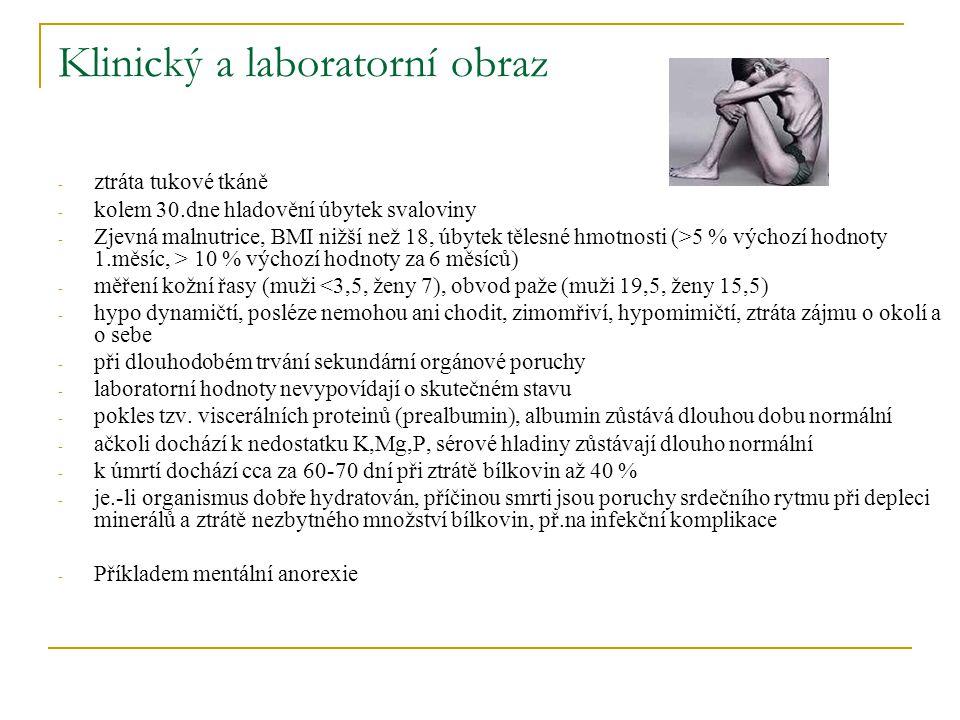 Klinický a laboratorní obraz - ztráta tukové tkáně - kolem 30.dne hladovění úbytek svaloviny - Zjevná malnutrice, BMI nižší než 18, úbytek tělesné hmo
