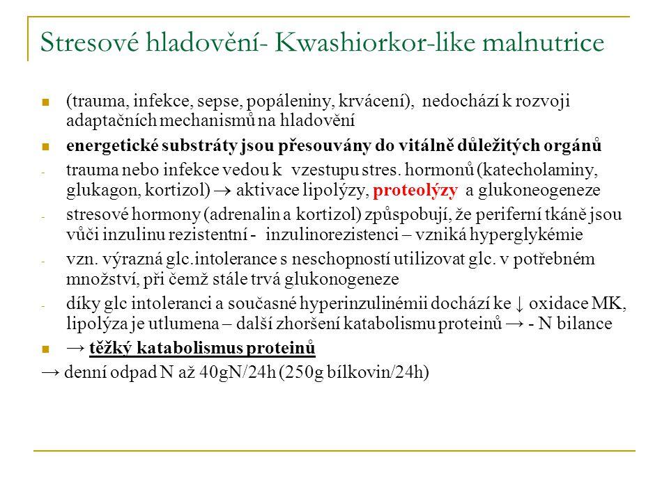 Stresové hladovění- Kwashiorkor-like malnutrice (trauma, infekce, sepse, popáleniny, krvácení), nedochází k rozvoji adaptačních mechanismů na hladověn