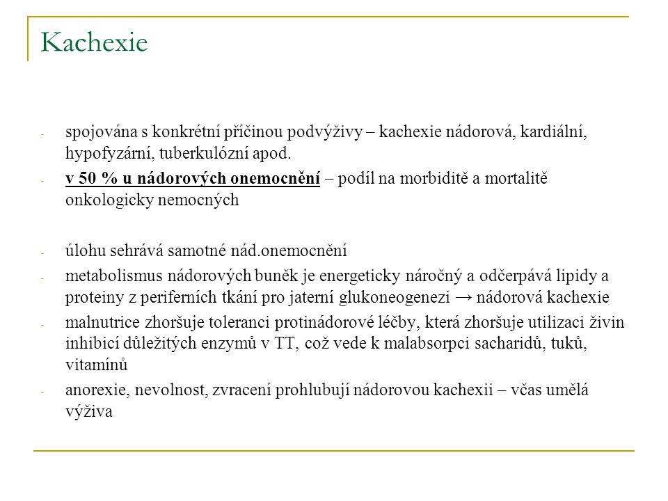 Kachexie - spojována s konkrétní příčinou podvýživy – kachexie nádorová, kardiální, hypofyzární, tuberkulózní apod. - v 50 % u nádorových onemocnění –