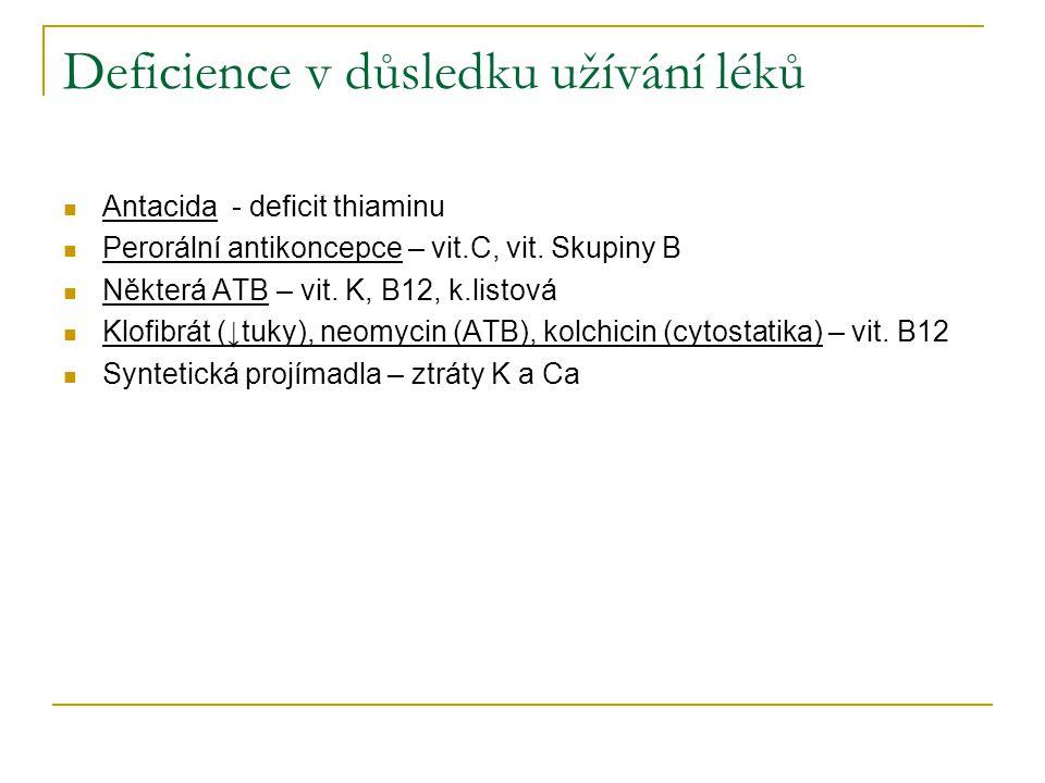 Deficience v důsledku užívání léků Antacida - deficit thiaminu Perorální antikoncepce – vit.C, vit. Skupiny B Některá ATB – vit. K, B12, k.listová Klo