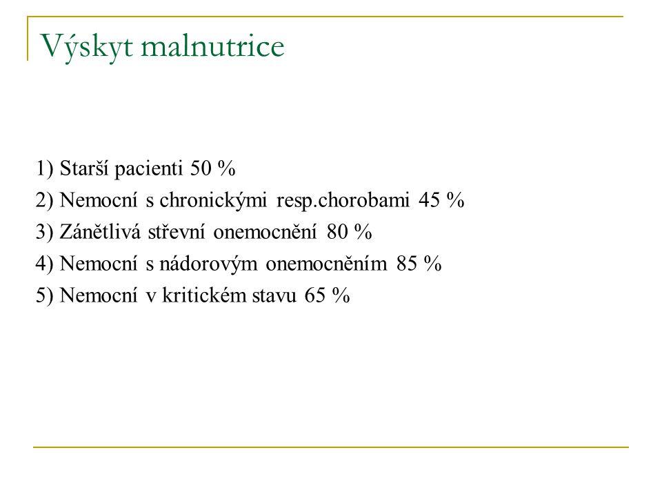 Výskyt malnutrice 1) Starší pacienti 50 % 2) Nemocní s chronickými resp.chorobami 45 % 3) Zánětlivá střevní onemocnění 80 % 4) Nemocní s nádorovým one