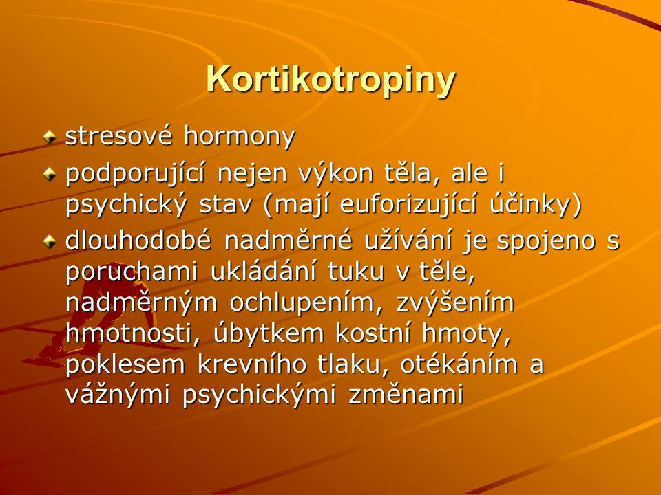 Kortikotropiny stresové hormony podporující nejen výkon těla, ale i psychický stav (mají euforizující účinky) dlouhodobé nadměrné užívání je spojeno s