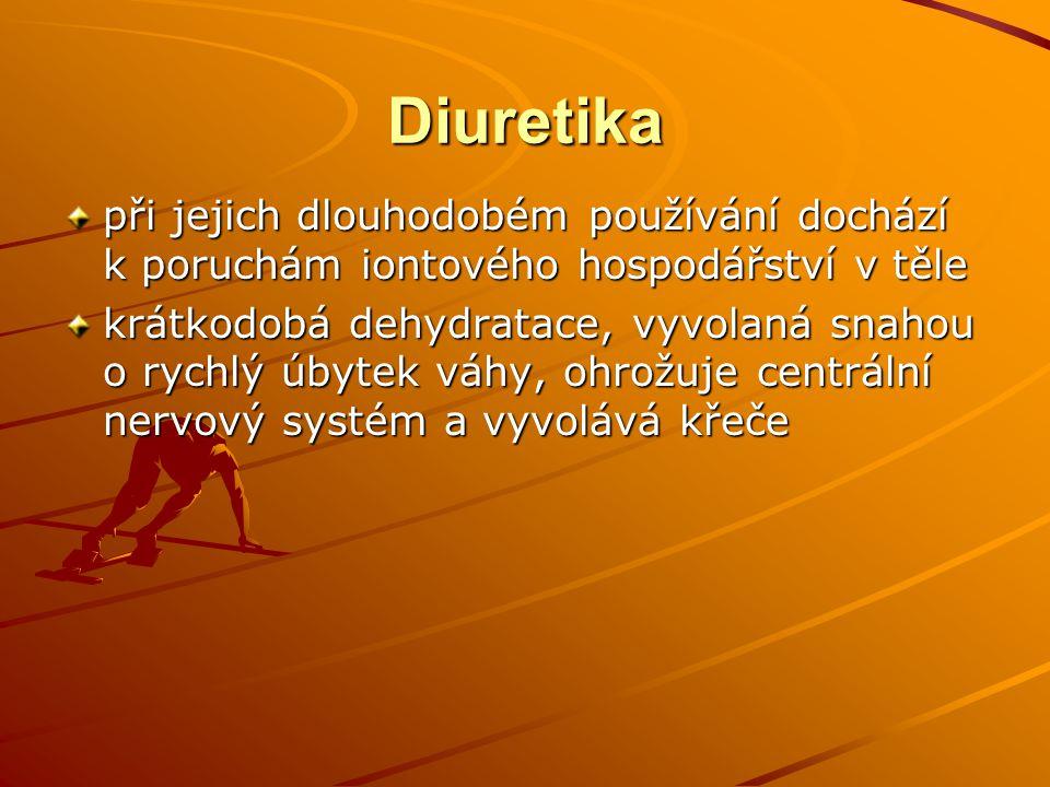 Diuretika při jejich dlouhodobém používání dochází k poruchám iontového hospodářství v těle krátkodobá dehydratace, vyvolaná snahou o rychlý úbytek vá