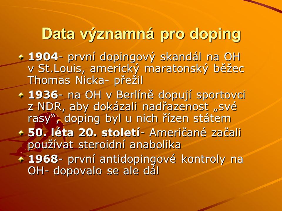 Data významná pro doping 1904- první dopingový skandál na OH v St.Louis, americký maratonský běžec Thomas Nicka- přežil 1936- na OH v Berlíně dopují s