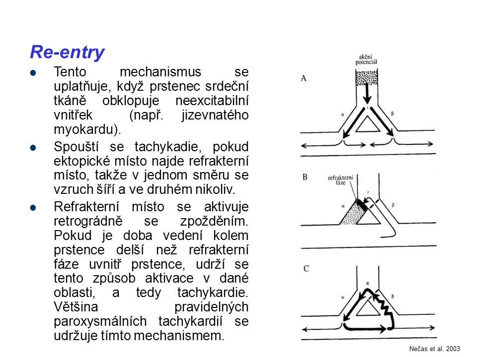 Re-entry Tento mechanismus se uplatňuje, když prstenec srdeční tkáně obklopuje neexcitabilní vnitřek (např. jizevnatého myokardu). Spouští se tachykad