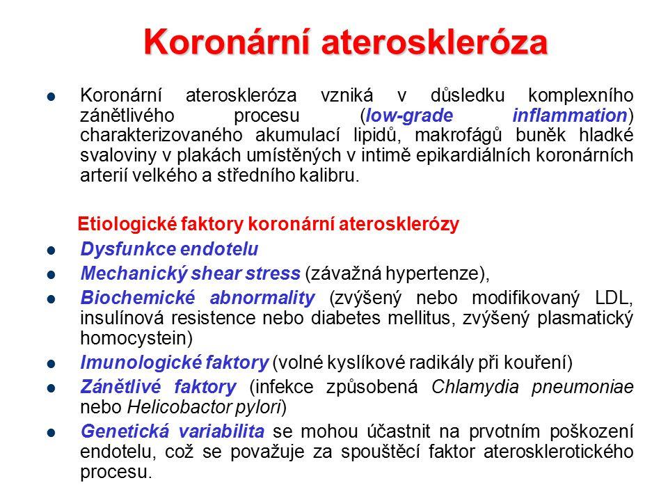 Koronární ateroskleróza Koronární ateroskleróza vzniká v důsledku komplexního zánětlivého procesu (low-grade inflammation) charakterizovaného akumulac