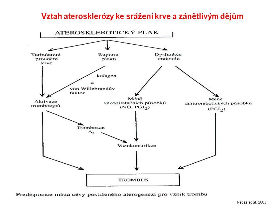 Vztah aterosklerózy ke srážení krve a zánětlivým dějům Nečas et al. 2003
