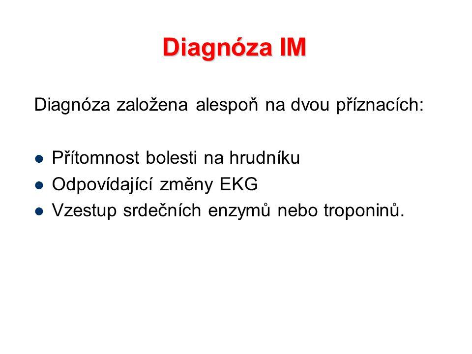 Diagnóza IM Diagnóza založena alespoň na dvou příznacích: Přítomnost bolesti na hrudníku Odpovídající změny EKG Vzestup srdečních enzymů nebo troponin