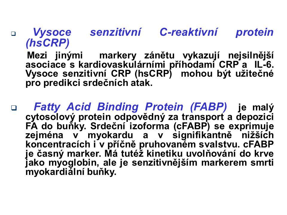  Vysoce senzitivní C-reaktivní protein (hsCRP) Mezi jinými markery zánětu vykazují nejsilnější asociace s kardiovaskulárními příhodami CRP a IL-6. Vy