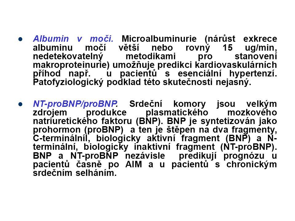 Albumin v moči. Microalbuminurie (nárůst exkrece albuminu močí větší nebo rovný 15 ug/min, nedetekovatelný metodikami pro stanovení makroproteinurie)