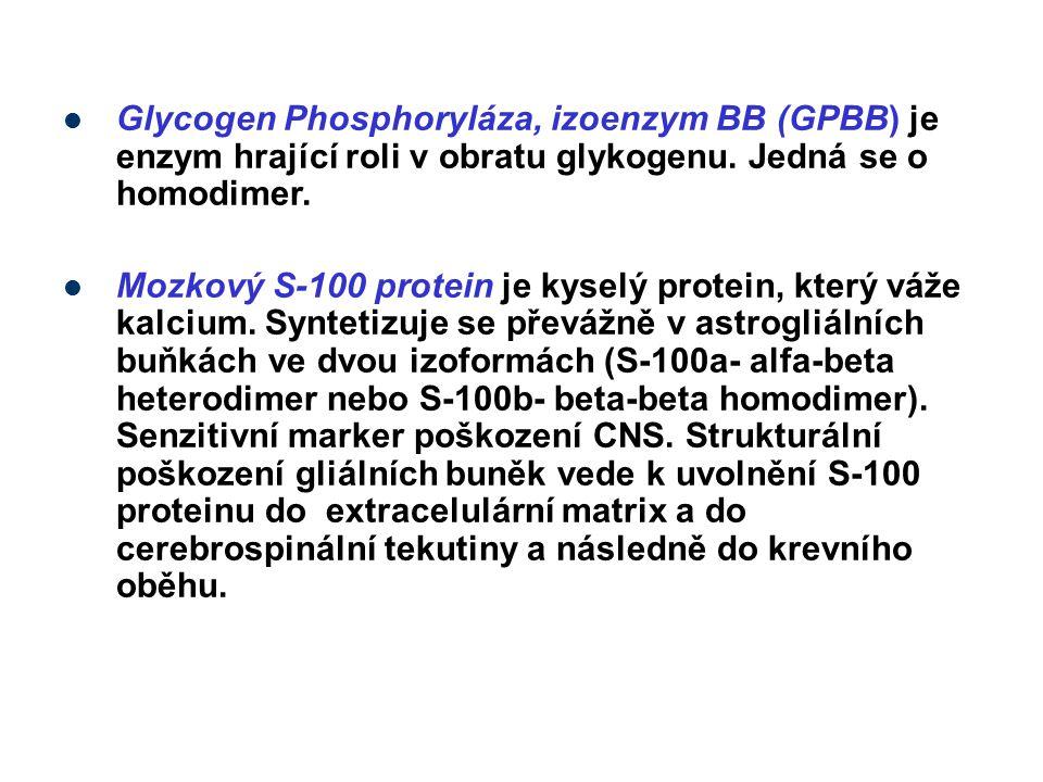 Glycogen Phosphoryláza, izoenzym BB (GPBB) je enzym hrající roli v obratu glykogenu. Jedná se o homodimer. Mozkový S-100 protein je kyselý protein, kt