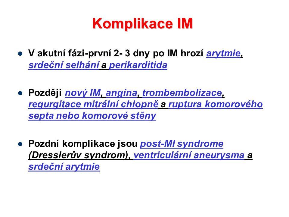 V akutní fázi-první 2- 3 dny po IM hrozí arytmie, srdeční selhání a perikarditida Později nový IM, angína, trombembolizace, regurgitace mitrální chlop