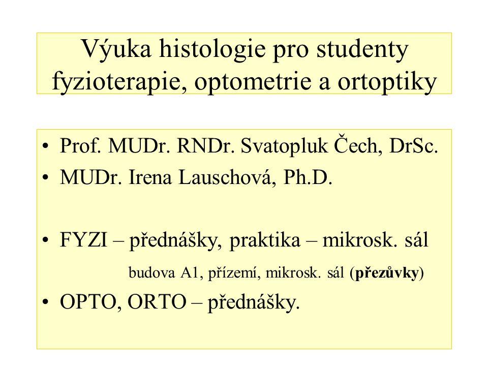 Výuka histologie pro studenty fyzioterapie, optometrie a ortoptiky Prof. MUDr. RNDr. Svatopluk Čech, DrSc. MUDr. Irena Lauschová, Ph.D. FYZI – přednáš