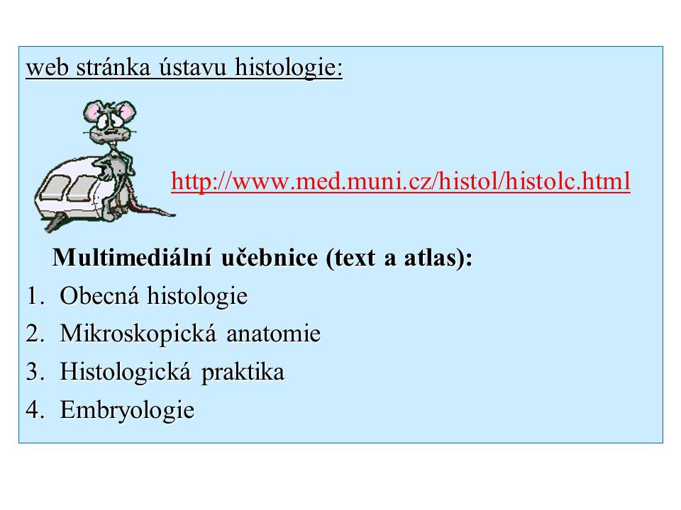 web stránka ústavu histologie: http://www.med.muni.cz/histol/histolc.html Multimediální učebnice (text a atlas): Multimediální učebnice (text a atlas)