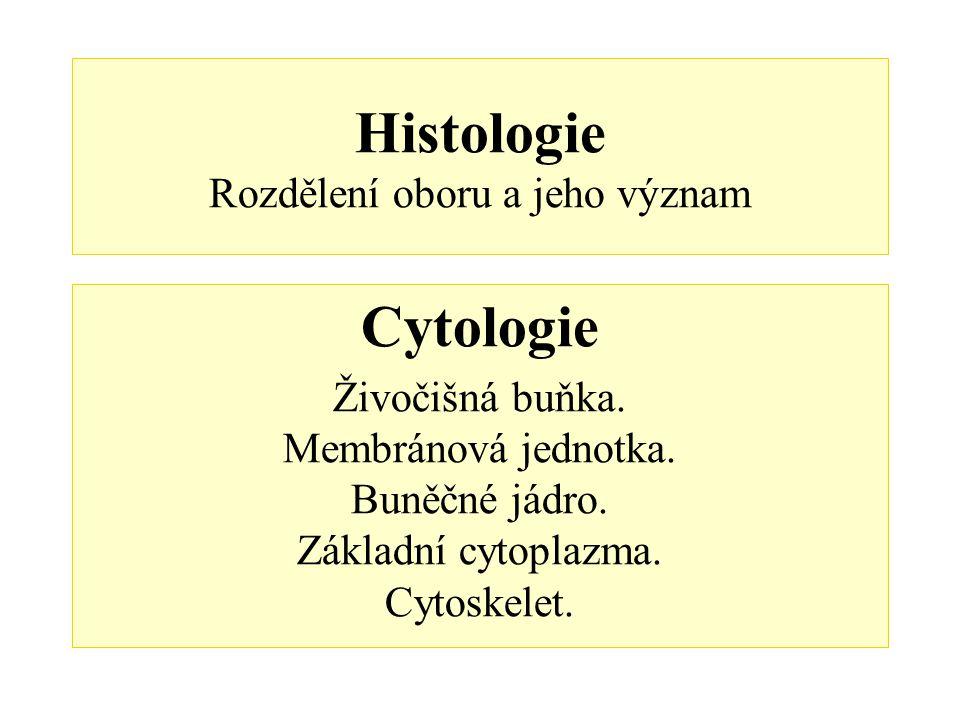 Histologie Rozdělení oboru a jeho význam Cytologie Živočišná buňka. Membránová jednotka. Buněčné jádro. Základní cytoplazma. Cytoskelet.