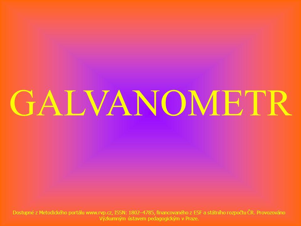 GALVANOMETR Dostupné z Metodického portálu www.rvp.cz, ISSN: 1802–4785, financovaného z ESF a státního rozpočtu ČR. Provozováno Výzkumným ústavem peda