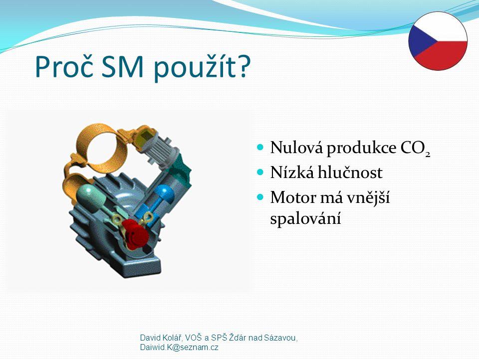 Proč SM použít? Nulová produkce CO 2 Nízká hlučnost Motor má vnější spalování David Kolář, VOŠ a SPŠ Žďár nad Sázavou, Daiwid.K@seznam.cz