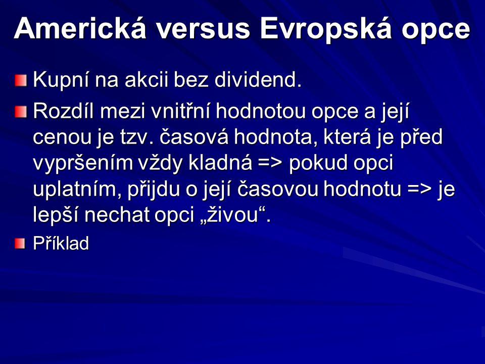 Americká versus Evropská opce Kupní na akcii bez dividend. Rozdíl mezi vnitřní hodnotou opce a její cenou je tzv. časová hodnota, která je před vyprše