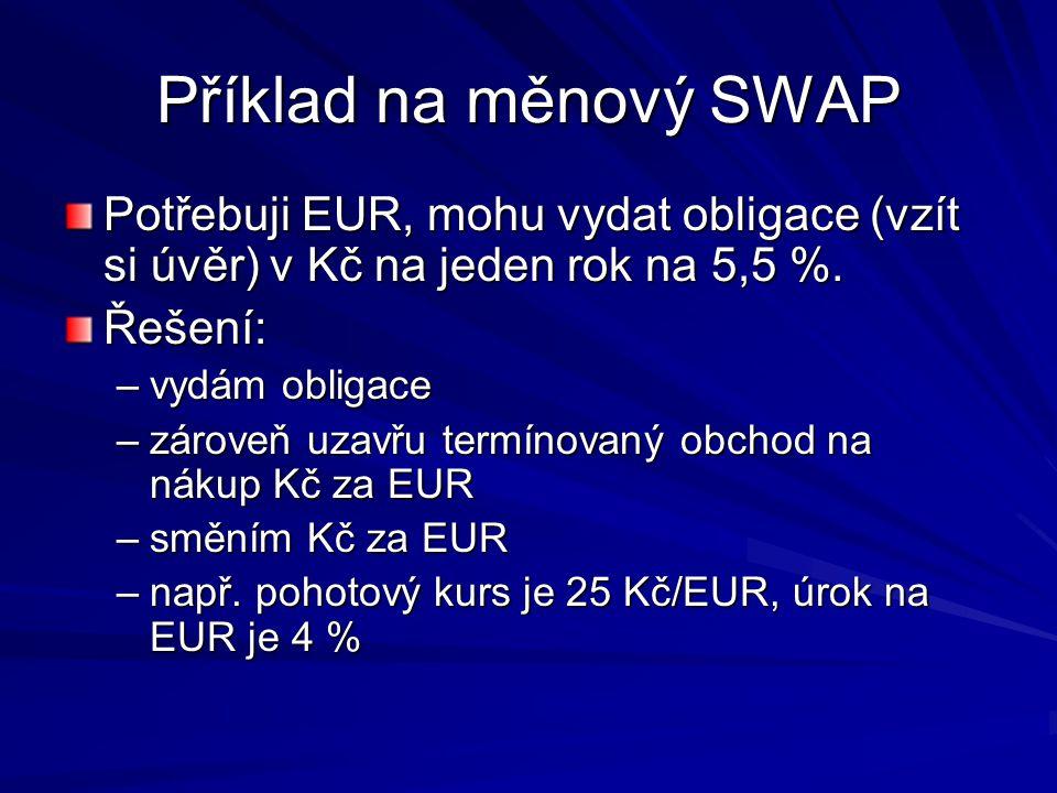 Příklad na měnový SWAP Potřebuji EUR, mohu vydat obligace (vzít si úvěr) v Kč na jeden rok na 5,5 %.