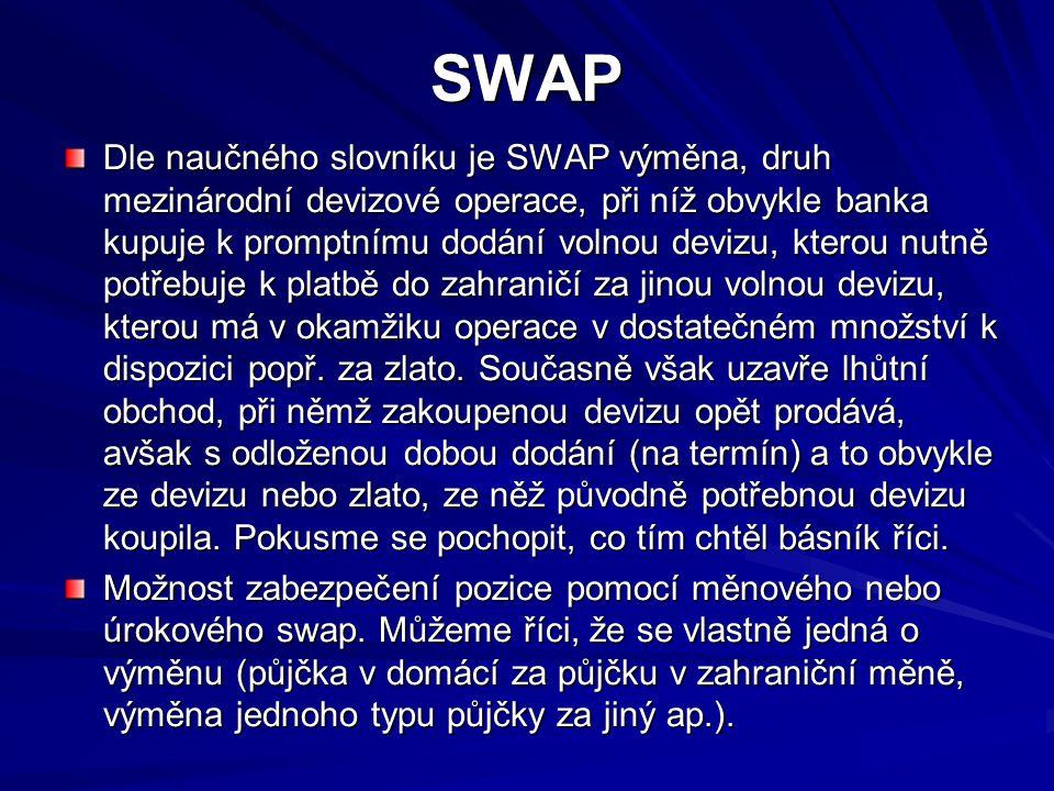 SWAP Dle naučného slovníku je SWAP výměna, druh mezinárodní devizové operace, při níž obvykle banka kupuje k promptnímu dodání volnou devizu, kterou nutně potřebuje k platbě do zahraničí za jinou volnou devizu, kterou má v okamžiku operace v dostatečném množství k dispozici popř.