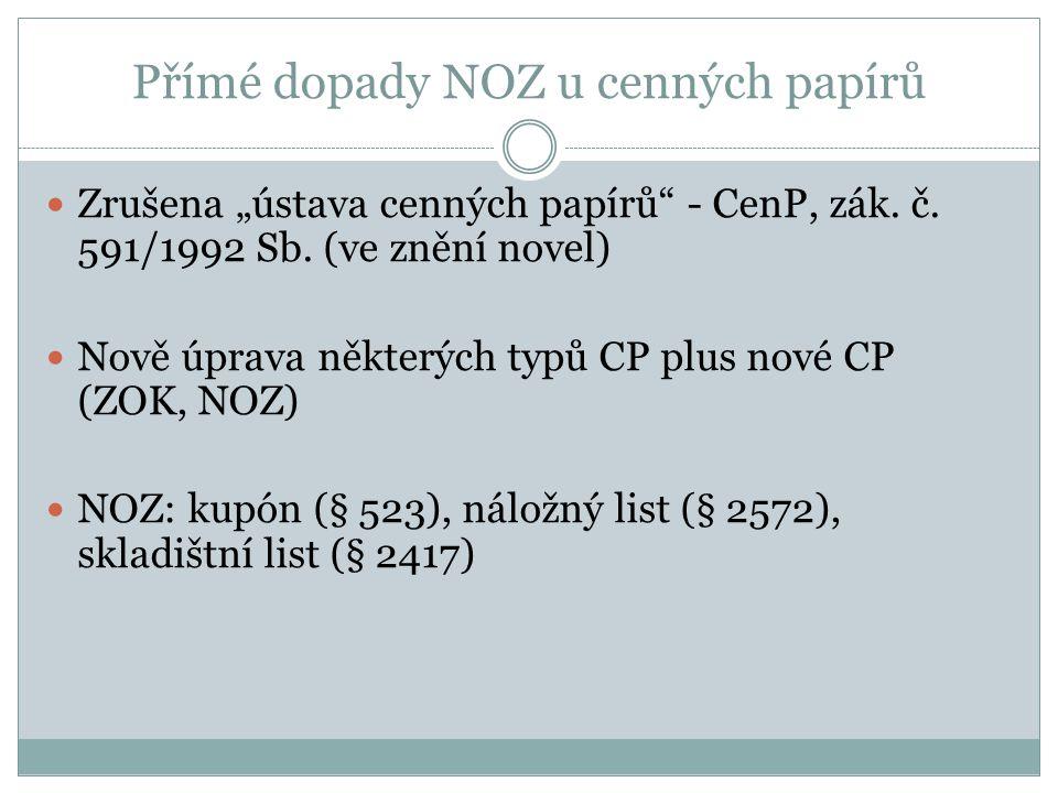 """Přímé dopady NOZ u cenných papírů Zrušena """"ústava cenných papírů - CenP, zák."""