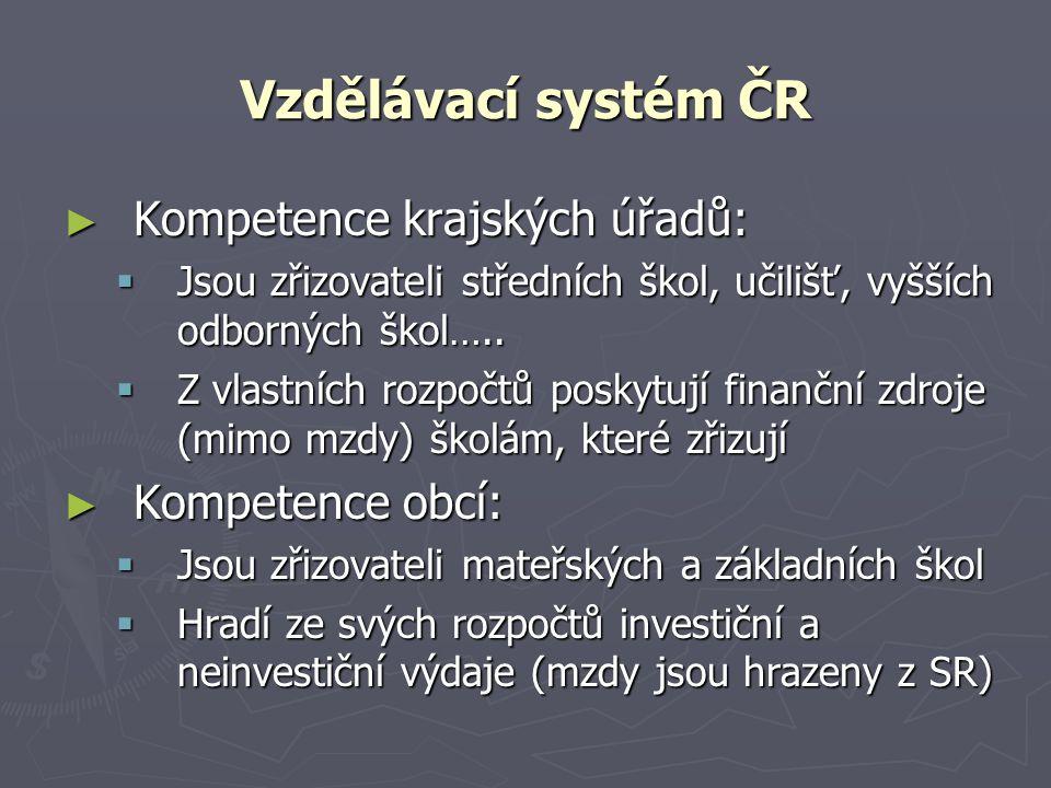 Vzdělávací systém ČR ► Kompetence krajských úřadů:  Jsou zřizovateli středních škol, učilišť, vyšších odborných škol…..  Z vlastních rozpočtů poskyt