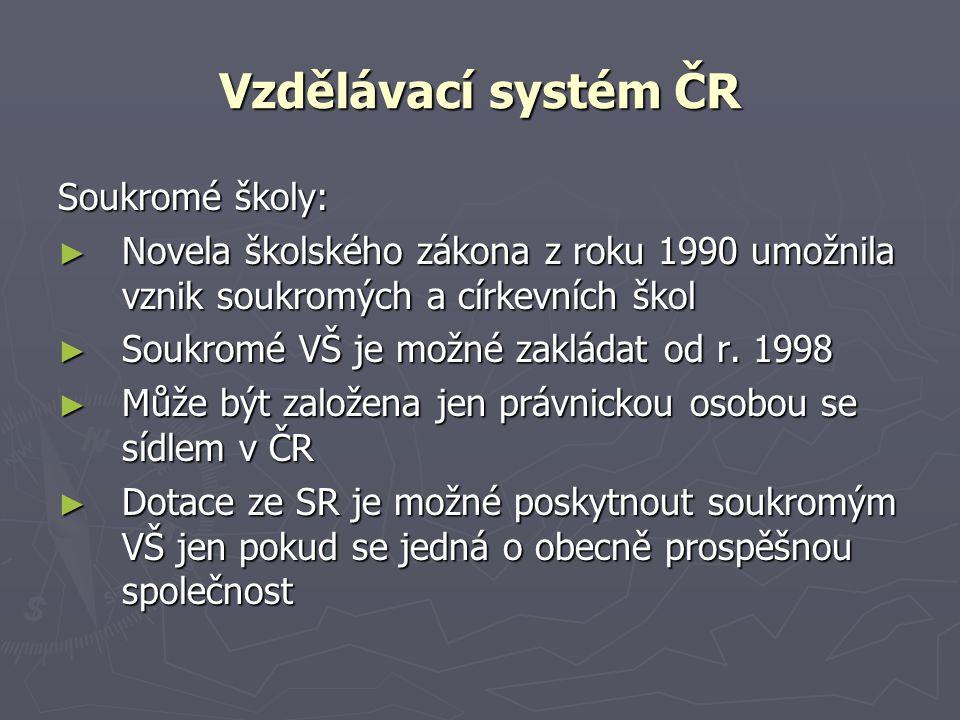 Vzdělávací systém ČR Soukromé školy: ► Novela školského zákona z roku 1990 umožnila vznik soukromých a církevních škol ► Soukromé VŠ je možné zakládat