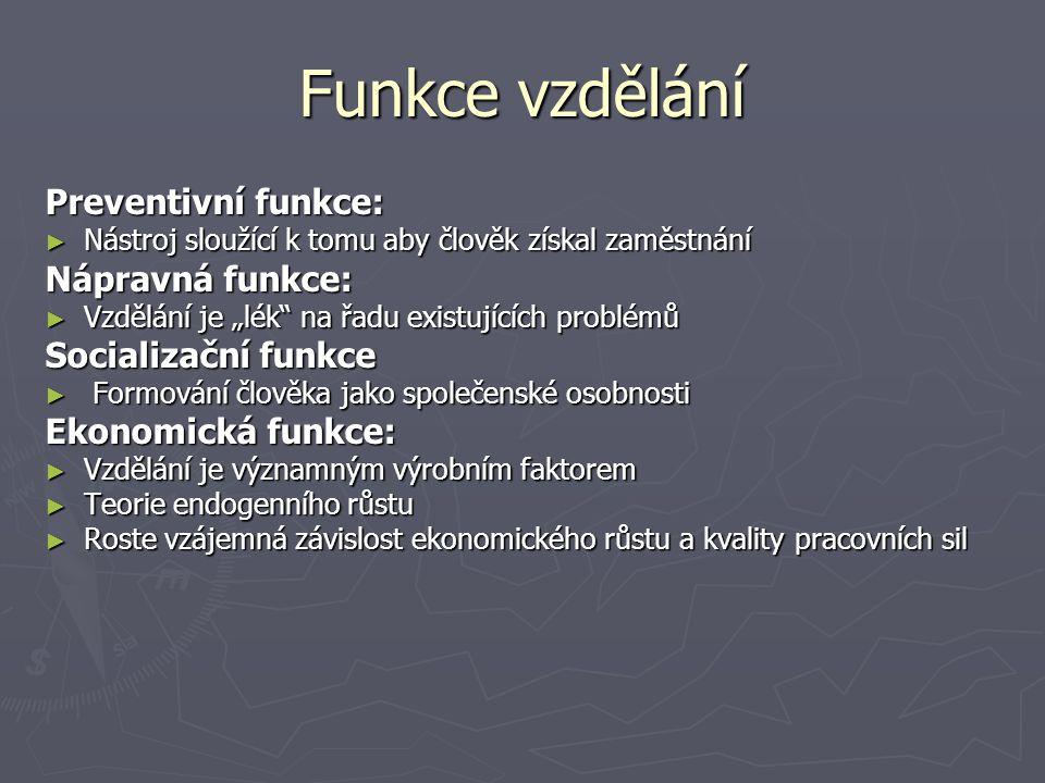"""Funkce vzdělání Preventivní funkce: ► Nástroj sloužící k tomu aby člověk získal zaměstnání Nápravná funkce: ► Vzdělání je """"lék"""" na řadu existujících p"""