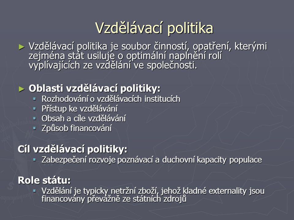 Vzdělávací politika ► Vzdělávací politika je soubor činností, opatření, kterými zejména stát usiluje o optimální naplnění rolí vyplívajících ze vzdělá