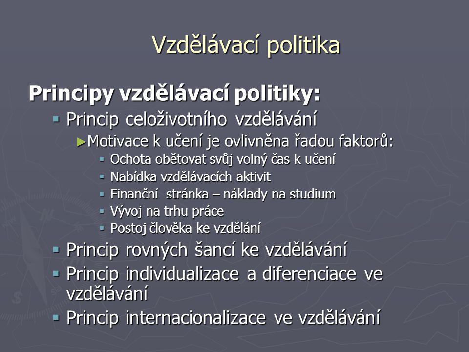 Vzdělávací politika Principy vzdělávací politiky:  Princip celoživotního vzdělávání ► Motivace k učení je ovlivněna řadou faktorů:  Ochota obětovat