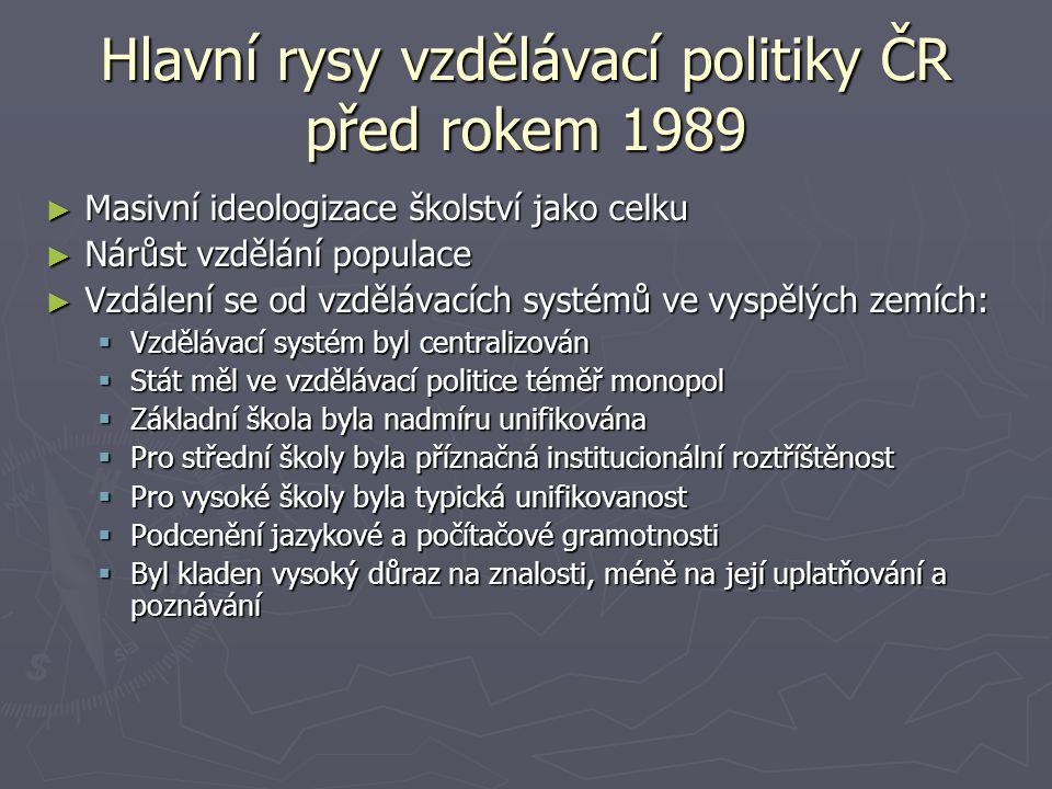 Hlavní rysy vzdělávací politiky ČR před rokem 1989 ► Masivní ideologizace školství jako celku ► Nárůst vzdělání populace ► Vzdálení se od vzdělávacích