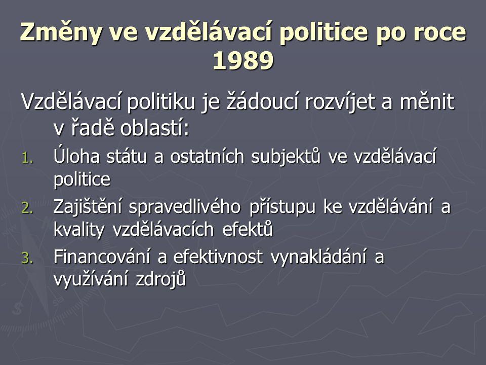 Změny ve vzdělávací politice po roce 1989 Vzdělávací politiku je žádoucí rozvíjet a měnit v řadě oblastí: 1. Úloha státu a ostatních subjektů ve vzděl