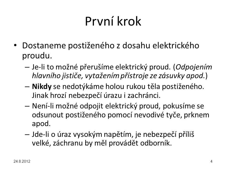 První krok Dostaneme postiženého z dosahu elektrického proudu. – Je-li to možné přerušíme elektrický proud. (Odpojením hlavního jističe, vytažením pří