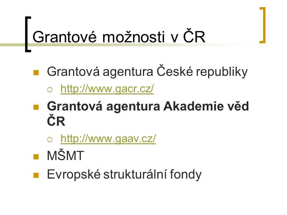 Grantové možnosti v ČR Grantová agentura České republiky  http://www.gacr.cz/ http://www.gacr.cz/ Grantová agentura Akademie věd ČR  http://www.gaav