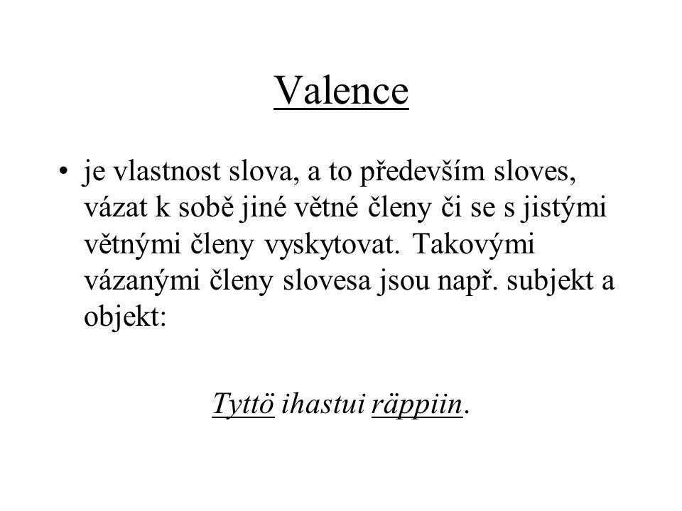 Valence je vlastnost slova, a to především sloves, vázat k sobě jiné větné členy či se s jistými větnými členy vyskytovat.