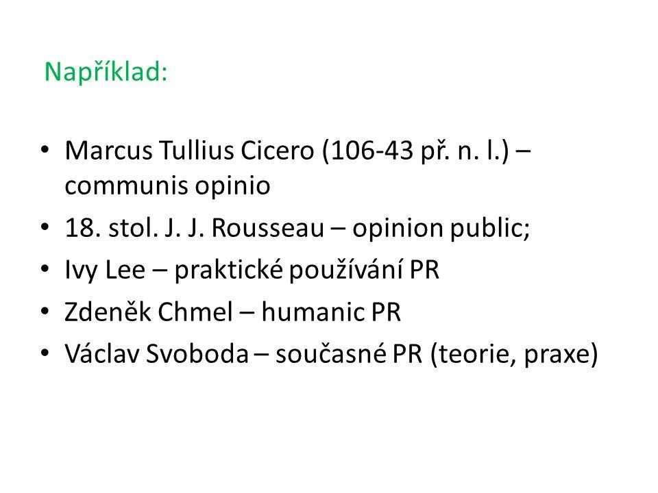 Například: Marcus Tullius Cicero (106-43 př.n. l.) – communis opinio 18.