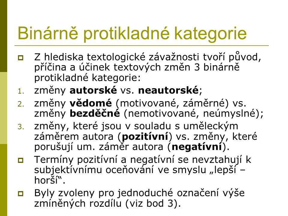 Binárně protikladné kategorie  Z hlediska textologické závažnosti tvoří původ, příčina a účinek textových změn 3 binárně protikladné kategorie: 1. zm