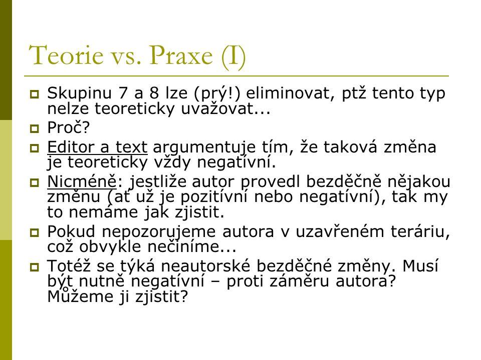 Teorie vs. Praxe (I)  Skupinu 7 a 8 lze (prý!) eliminovat, ptž tento typ nelze teoreticky uvažovat...  Proč?  Editor a text argumentuje tím, že tak
