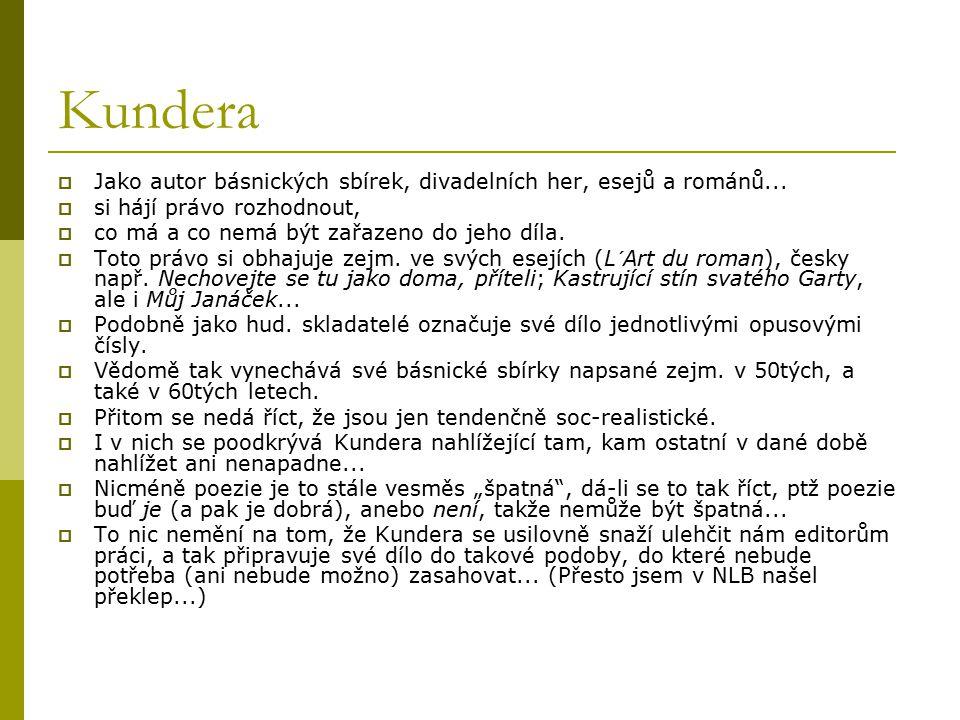 Kundera  Jako autor básnických sbírek, divadelních her, esejů a románů...  si hájí právo rozhodnout,  co má a co nemá být zařazeno do jeho díla. 