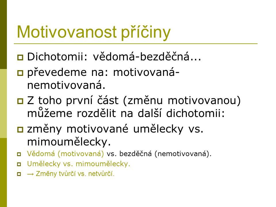 Motivovanost příčiny  Dichotomii: vědomá-bezděčná...  převedeme na: motivovaná- nemotivovaná.  Z toho první část (změnu motivovanou) můžeme rozděli