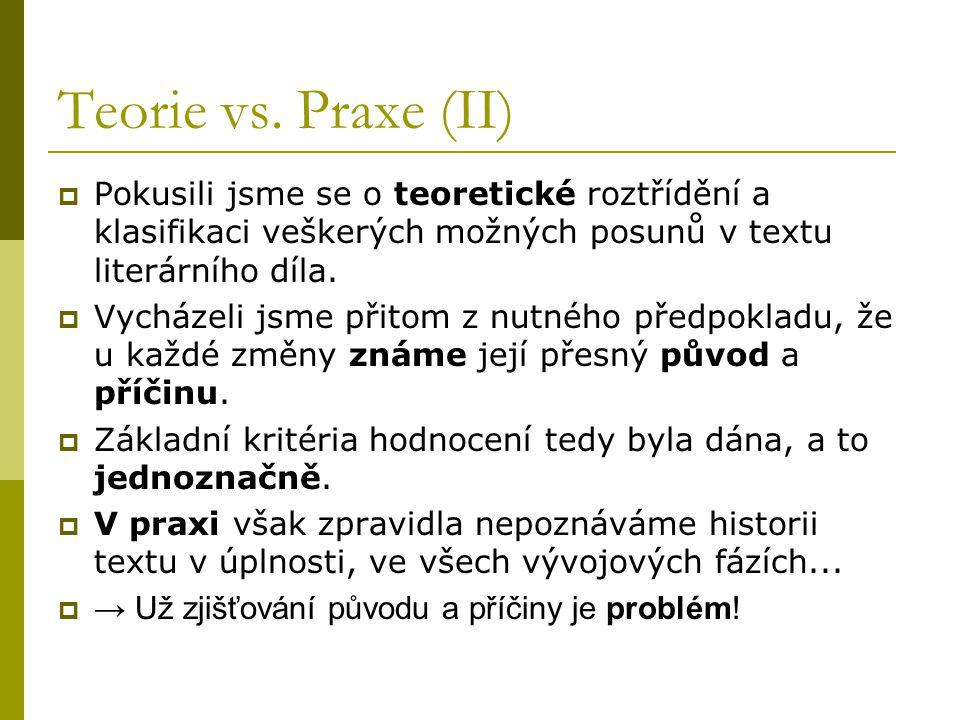 Teorie vs. Praxe (II)  Pokusili jsme se o teoretické roztřídění a klasifikaci veškerých možných posunů v textu literárního díla.  Vycházeli jsme při