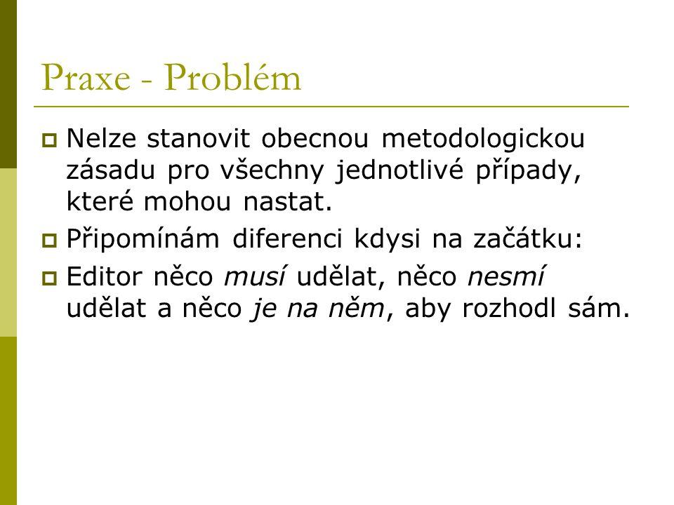 Praxe - Problém  Nelze stanovit obecnou metodologickou zásadu pro všechny jednotlivé případy, které mohou nastat.  Připomínám diferenci kdysi na zač