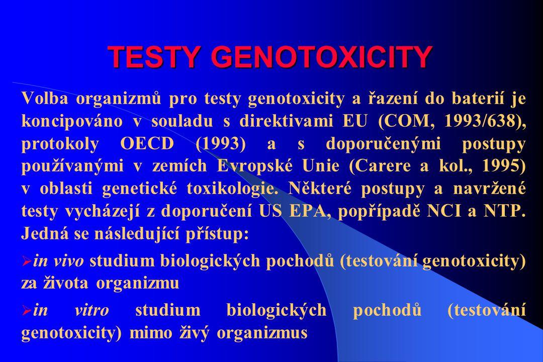 TESTY GENOTOXICITY Volba organizmů pro testy genotoxicity a řazení do baterií je koncipováno v souladu s direktivami EU (COM, 1993/638), protokoly OEC