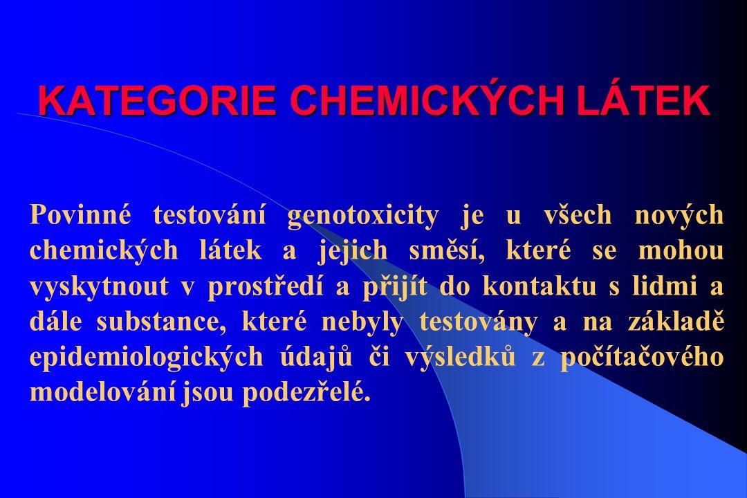 KATEGORIE CHEMICKÝCH LÁTEK Povinné testování genotoxicity je u všech nových chemických látek a jejich směsí, které se mohou vyskytnout v prostředí a p