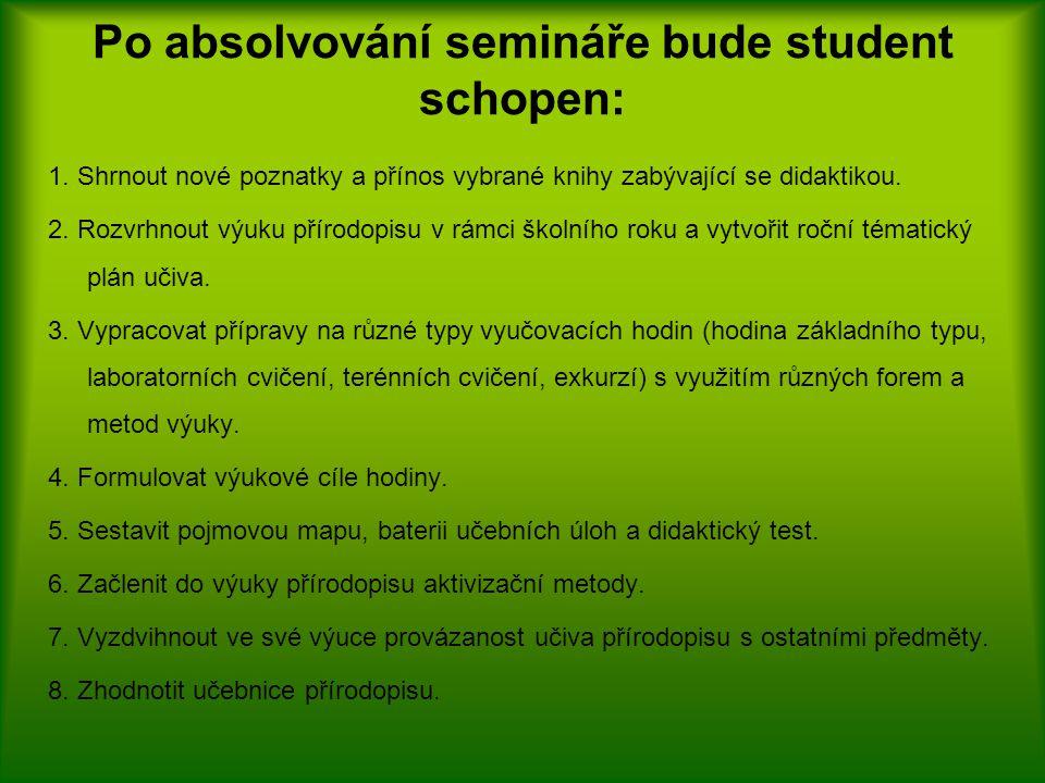 Po absolvování semináře bude student schopen: 1.