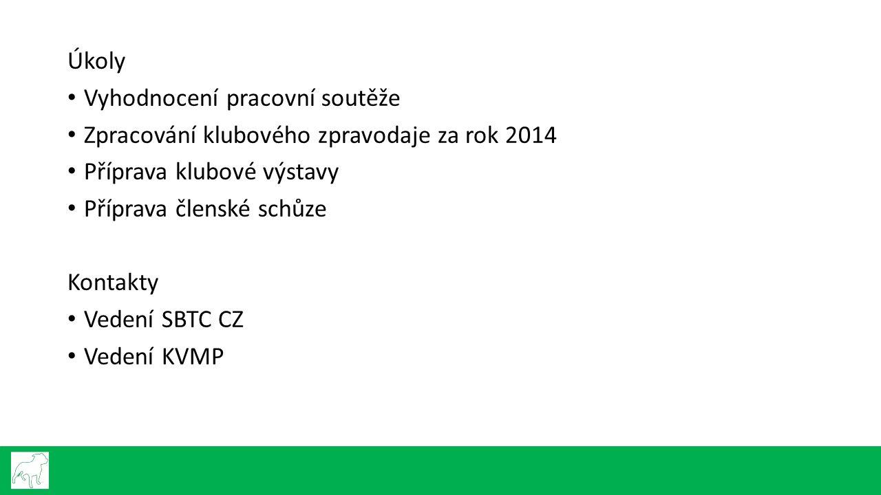 Úkoly Vyhodnocení pracovní soutěže Zpracování klubového zpravodaje za rok 2014 Příprava klubové výstavy Příprava členské schůze Kontakty Vedení SBTC C