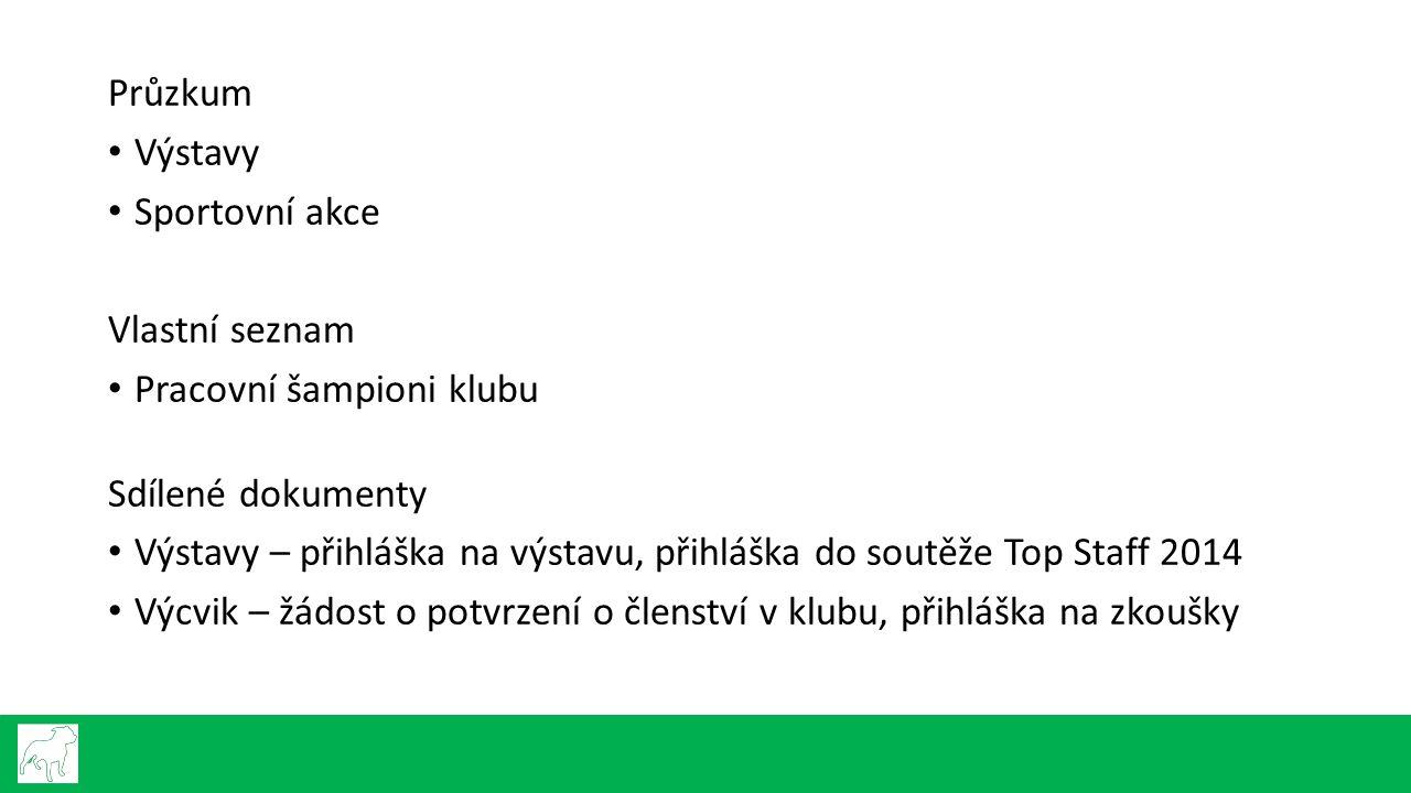 Průzkum Výstavy Sportovní akce Vlastní seznam Pracovní šampioni klubu Sdílené dokumenty Výstavy – přihláška na výstavu, přihláška do soutěže Top Staff