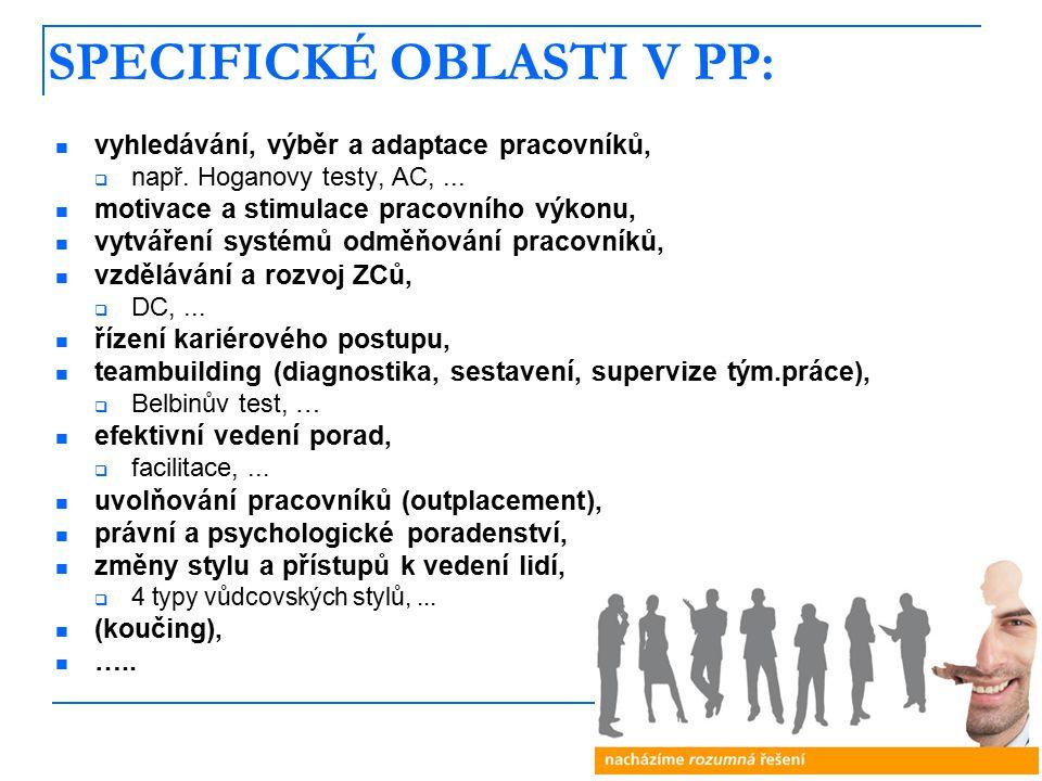6 SPECIFICKÉ OBLASTI V PP: vyhledávání, výběr a adaptace pracovníků,  např.