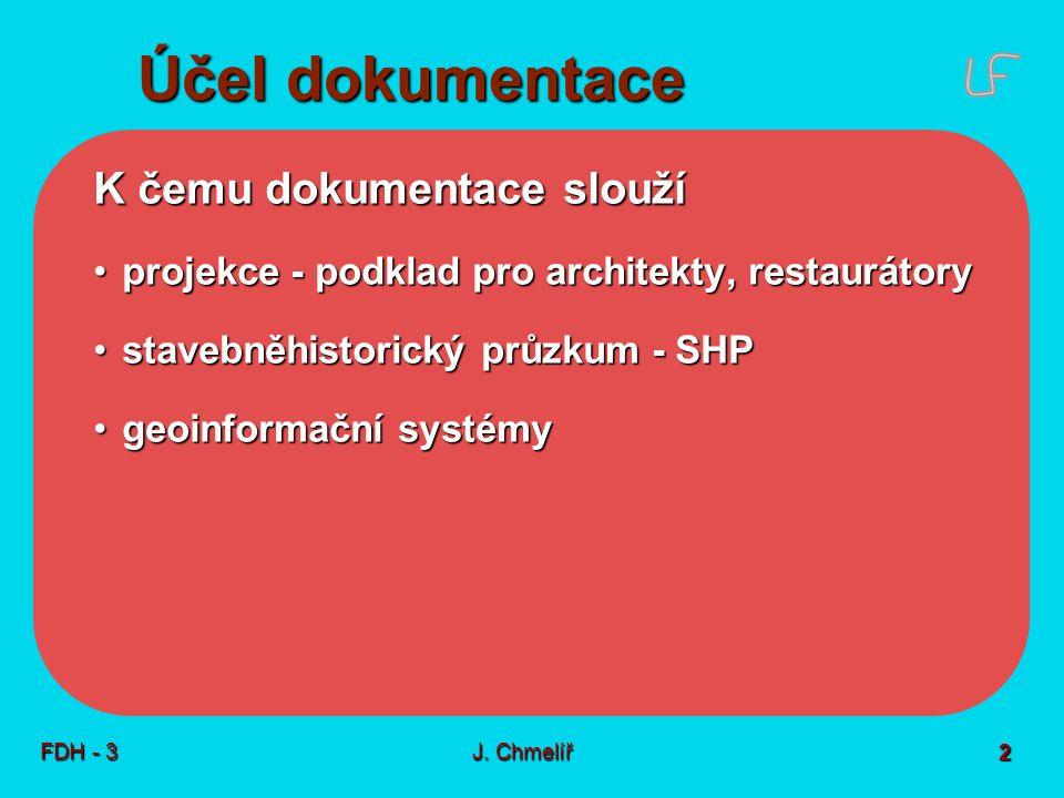 K čemu dokumentace slouží projekce - podklad pro architekty, restaurátoryprojekce - podklad pro architekty, restaurátory stavebněhistorický průzkum - SHPstavebněhistorický průzkum - SHP geoinformační systémygeoinformační systémy Účel dokumentace FDH - 3 2 J.