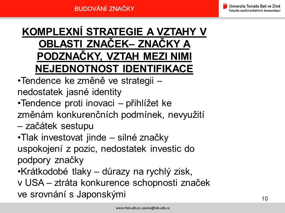 10 www.fmk.utb.cz, pavlu@fmk.utb.cz BUDOVÁNÍ ZNAČKY KOMPLEXNÍ STRATEGIE A VZTAHY V OBLASTI ZNAČEK– ZNAČKY A PODZNAČKY, VZTAH MEZI NIMI NEJEDNOTNOST ID